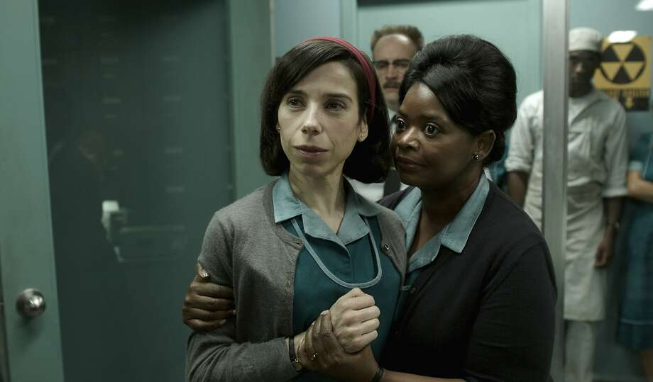 "Sally Hawkins (left), starring with Octavia Spencer in ""The Shape of Water,"" is mesmerizing as Eliza, a mute orphan. Photo: Associated Press"
