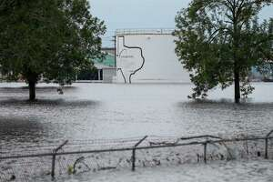 The Arkema Inc. chemical plant , flooded from Tropical Storm Harvey Wednesday, is located in Crosby, about 25 miles northeast of Houston. (Godofredo A. Vasquez / Houston Chronicle)