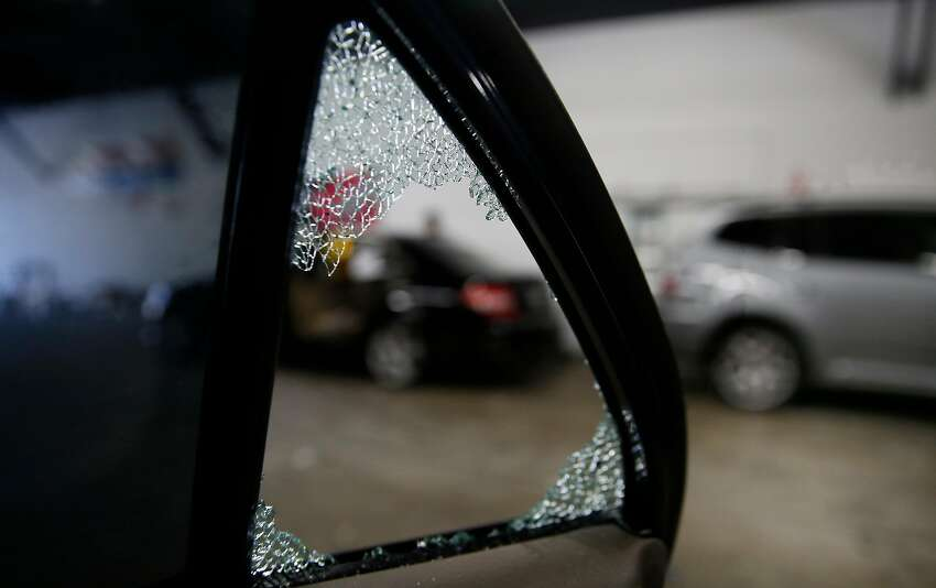 This car at TLC Auto Glass in San Francisco had its passenger rear window broken twice in one week in August.Click through the gallery to see the 10 worst blocks for car break-ins in San Francisco in descending order, according to a study by the parking app SpotAngels. For more information on the problem, see the December 2017 article accompanying this slideshow here.
