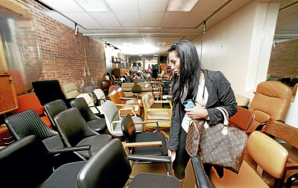 Sondra Tamborini Of Middletown Browses Chairs At The Acme Furniture Co. On  Crown St.
