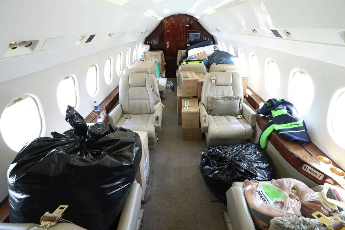 The inside of a business aircraft packed with relief items for Hurricane Harvey victims at Hobby Airport Thursday, Aug. 31, 2017, in Houston. Private planes are being used to fly in supplies. ( Steve Gonzales / Houston Chronicle )