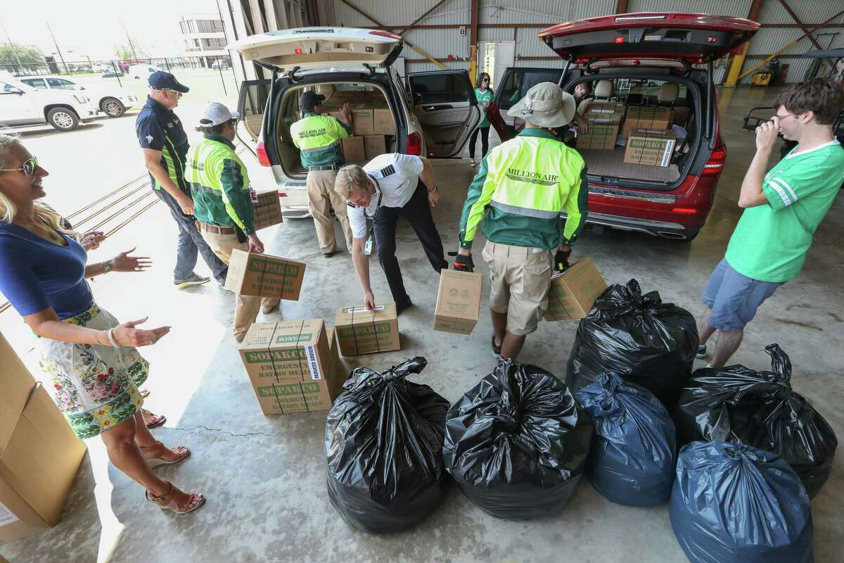 A business aircraft arrived packed with relief items for Hurricane Harvey victims at Hobby Airport Thursday, Aug. 31, 2017, in Houston. Private planes are being used to fly in supplies. ( Steve Gonzales / Houston Chronicle )