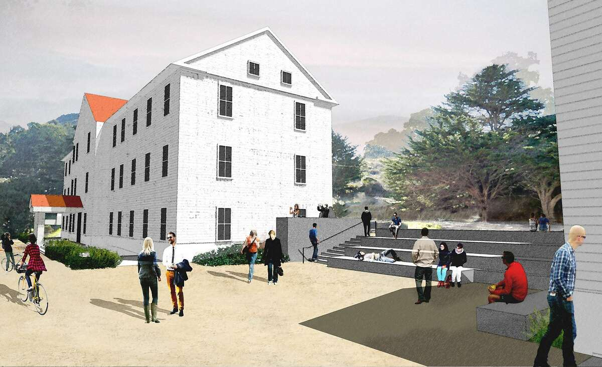 A small plaza/amphitheater, part of the Commons at the Headlands Center for the Arts, will seat about 100.