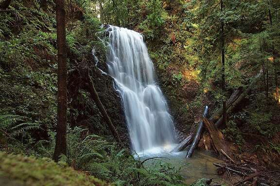 70-foot Berry Creek Falls, at Big Basin Redwoods State Park down the canyon from Sunset Camp.