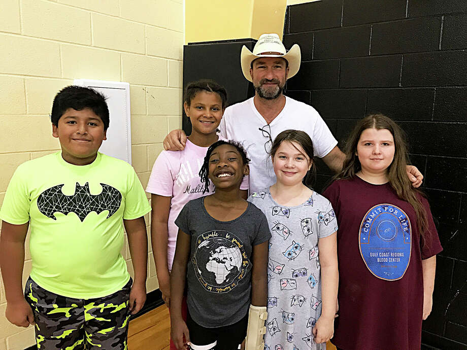 Superintendent Cody Abshier worked the shelter at Liberty Middle School and spent some time with his students. Photo: Submitted