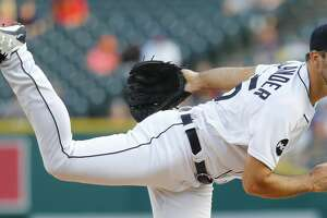 Detroit Tigers pitcher Justin Verlander throws against the Pittsburgh Pirates in the first inning of an interleague baseball game in Detroit, Wednesday, Aug. 9, 2017. (AP Photo/Paul Sancya)
