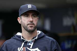 DETROIT, MI - AUGUST 24: Justin Verlander #35 of the Detroit Tigers looks on during a game against the New York Yankees at Comerica Park on August 24, 2017 in Detroit, Michigan. The Tigers defeated the Yankees 10-6. (Photo by Joe Robbins/Getty Images)