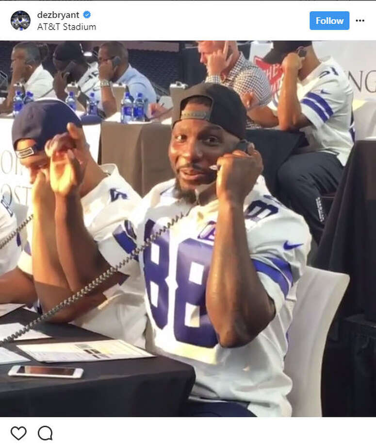 Cowboys wide receiver Dez Bryant got a call from team owner Jerry Jones that he was donating $1 million while working the phones during a Hurricane Harvey relief drive.Image source: InstagramSee who came to the aid of Hurricane Harvey victims ahead.  Photo: Dez Bryant Via Instagram