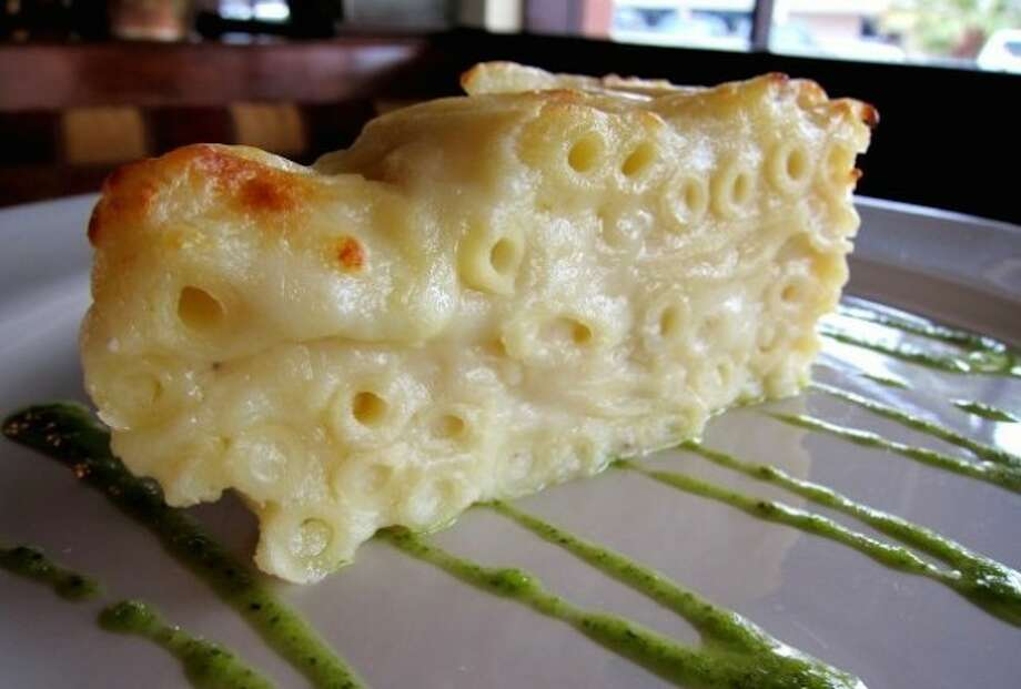 This milky mac & cheese, compliments of Prego in Rice Village, is an ooey gooey delight is dressed in a special Béchamel (white) sauce.