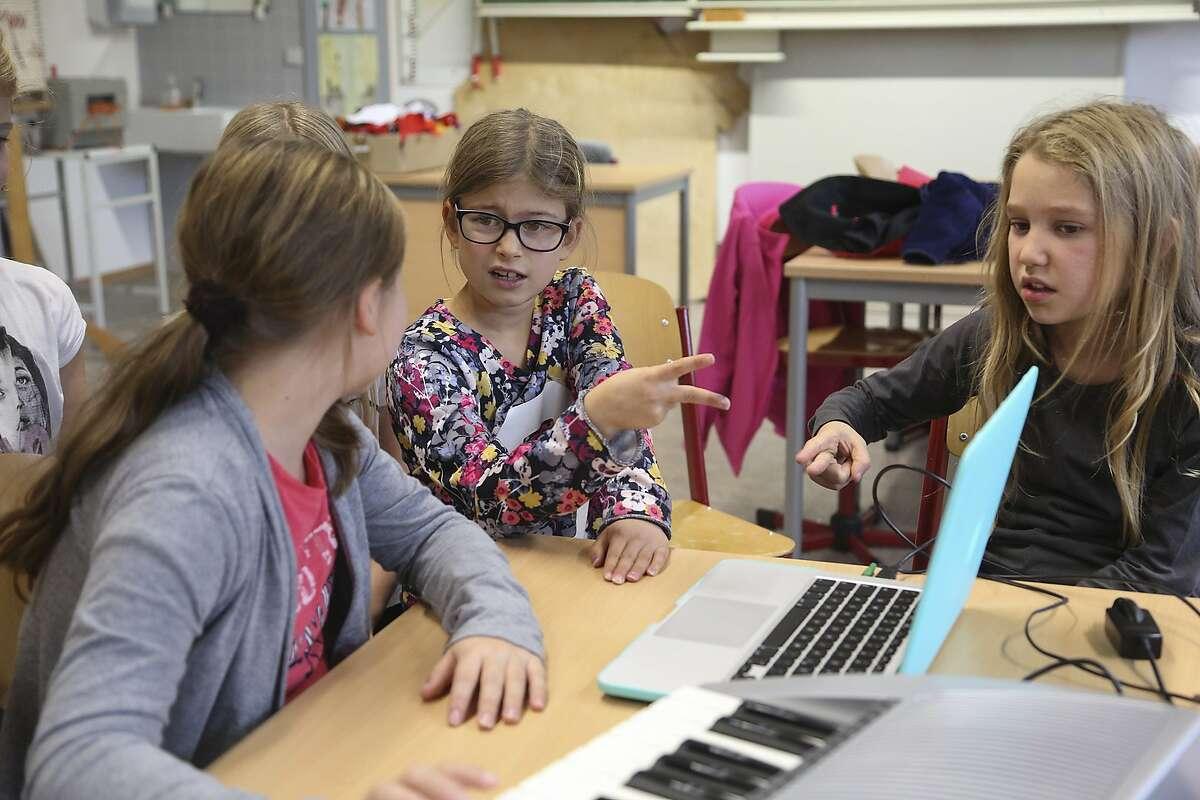 Girls in Germany work on their film