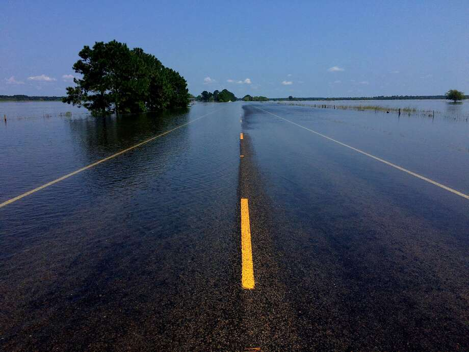 326 between China and Sour Lake is closed due to flooding. Sept. 1, 2017. Photo: Ryan Pelham