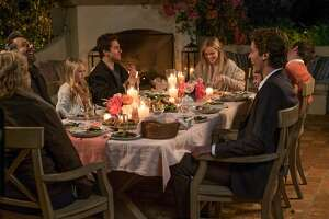 (Clockwise from left) Candice Bergen, Michael Sheen, Eden Grace Redfield, Nat Wolff, Reese Witherspoon, Jon Rudnitsky, Lola Flanery and Pico Alexander in HOME AGAIN.