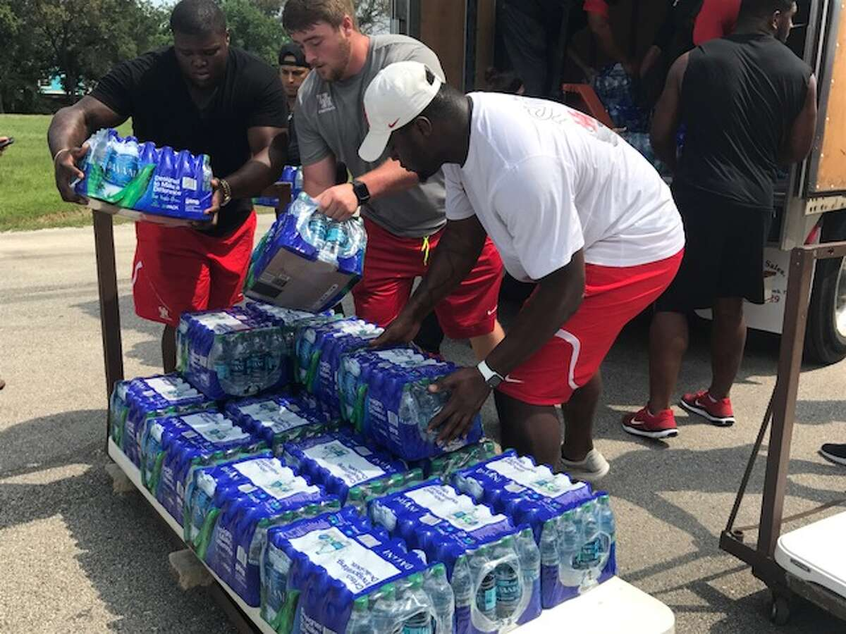 University of Houston athletes helped deliver supplies for victims of Hurricane Harvey.