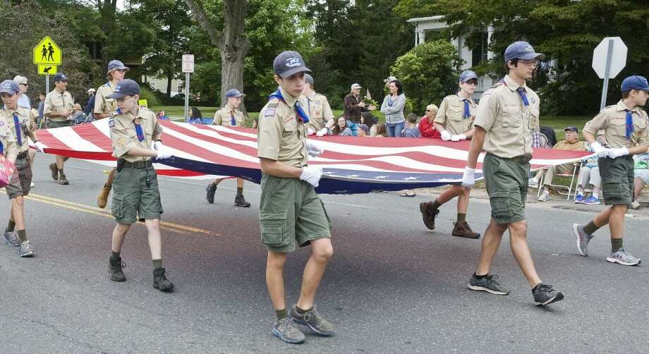 Newtown Boy Scouts carry the flag in the Newtown Labor Day Parade on Main Street. Monday, Sept. 5, 2016 Photo: Scott Mullin / For Hearst Connecticut Media / The News-Times Freelance