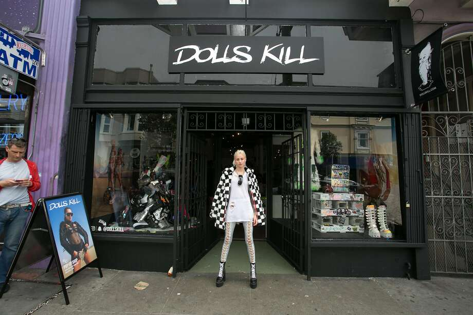Dolls Kill, a San Francisco online retailer of rebellious clothing favored by young women, opened a popup store Aug. 19 at 1475 Haight St., which drew a sizeable crowd. The store is open through Oct. 31. Photo: Dolls Kill