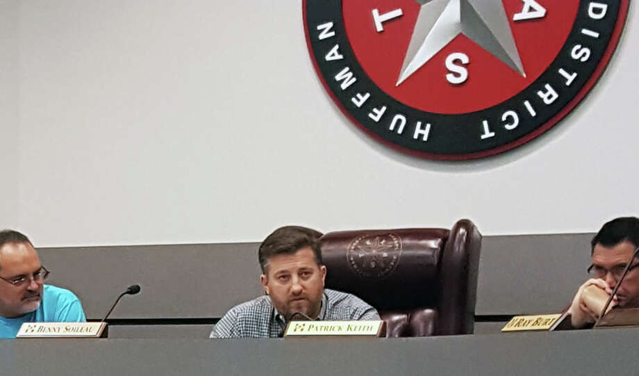 Huffman ISD Superintendent Benny Soileau explains the need to fund emergency repairs on district facilities that sustained damage from flooding during an emergency school board meeting on Friday, Sept. 1. Photo: Melanie Feuk