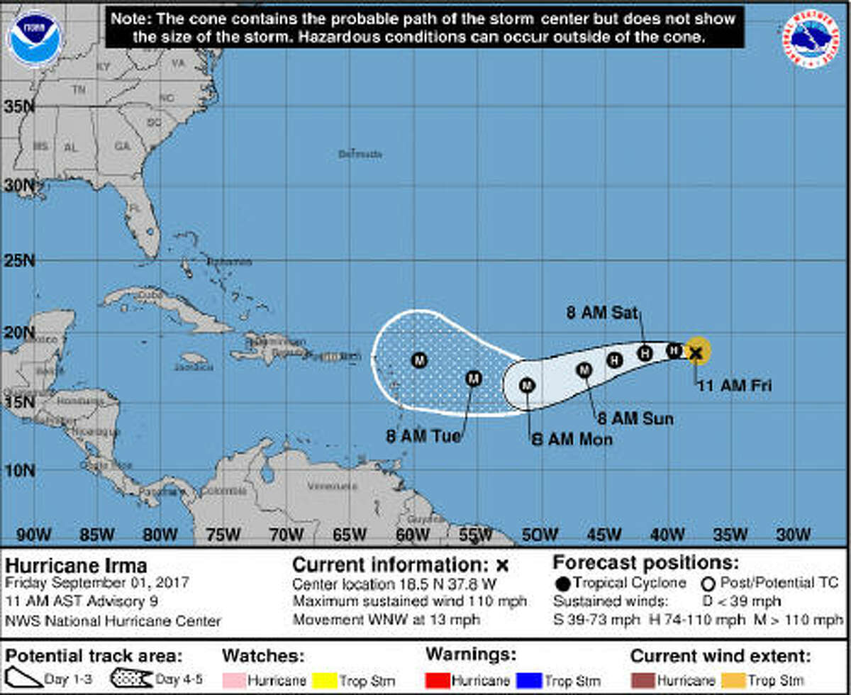 Irma is a Category 2 hurricane as of Aug. 31, 2017.