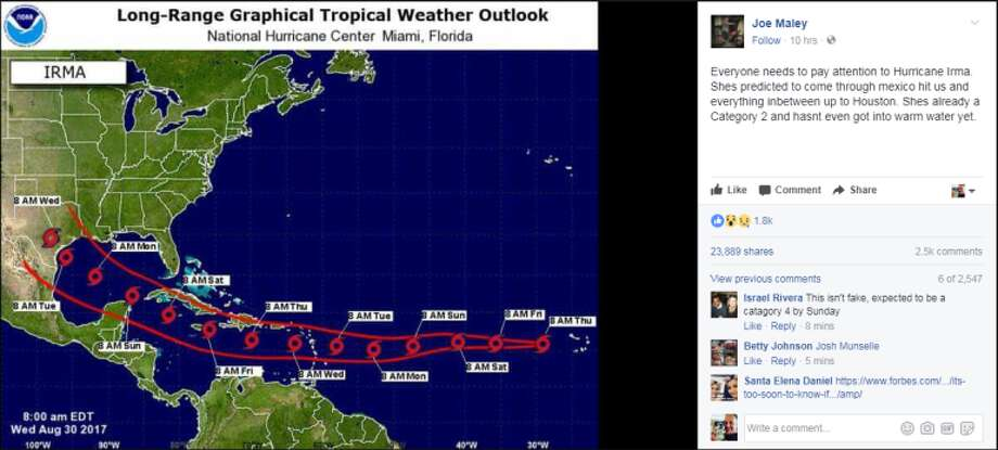 A post circulating on Facebook that Hurricane Irma is going to hit Houston has been debunked. Meteorologist Katie Magee with the National Weather Service said the storm is closer to Africa than America and that it's way too so to predict what it's going to do. See maps that show how Harvey became a monster up ahead. Photo: Joe Maley Via Facebook