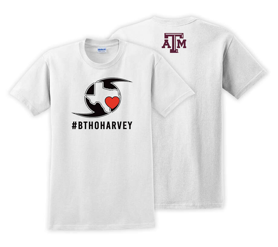 Texas A&M will sell these T-shirts to benefit the relief efforts along the Gulf Coast in the aftermath of Hurricane Harvey. Photo: Texas A&M