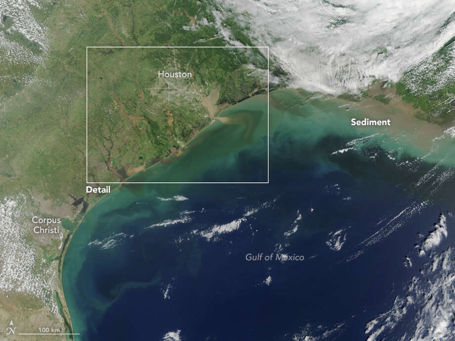 Harvey flooding from the airNASA Terra satellite images captured August 31, 2017, showing Harvey flood waters pouring back into the Gulf of Mexico.See Satellite photos of the Houston area that show extreme damage. Photo: NASA