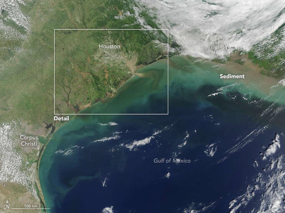 NASA Image Shows Harveys Muddy Flood Waters Washing Into Gulf Of - Satellite mexico map