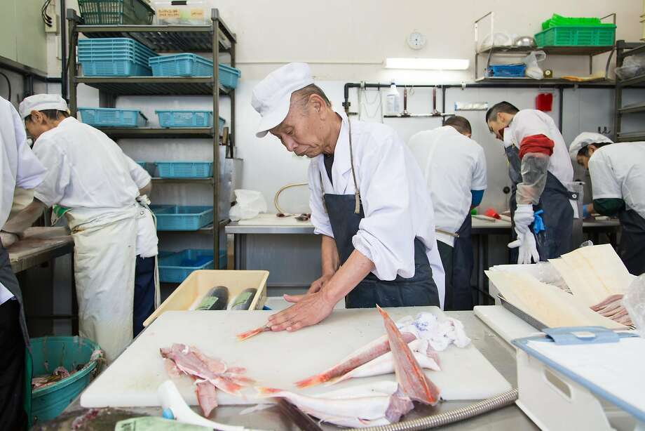 The catch is prepared by Sakasyu workers in a processing hub on the fringe of Tsukiji Market in Tokyo. Photo: Andrew Faulk, Special To The Chronicle