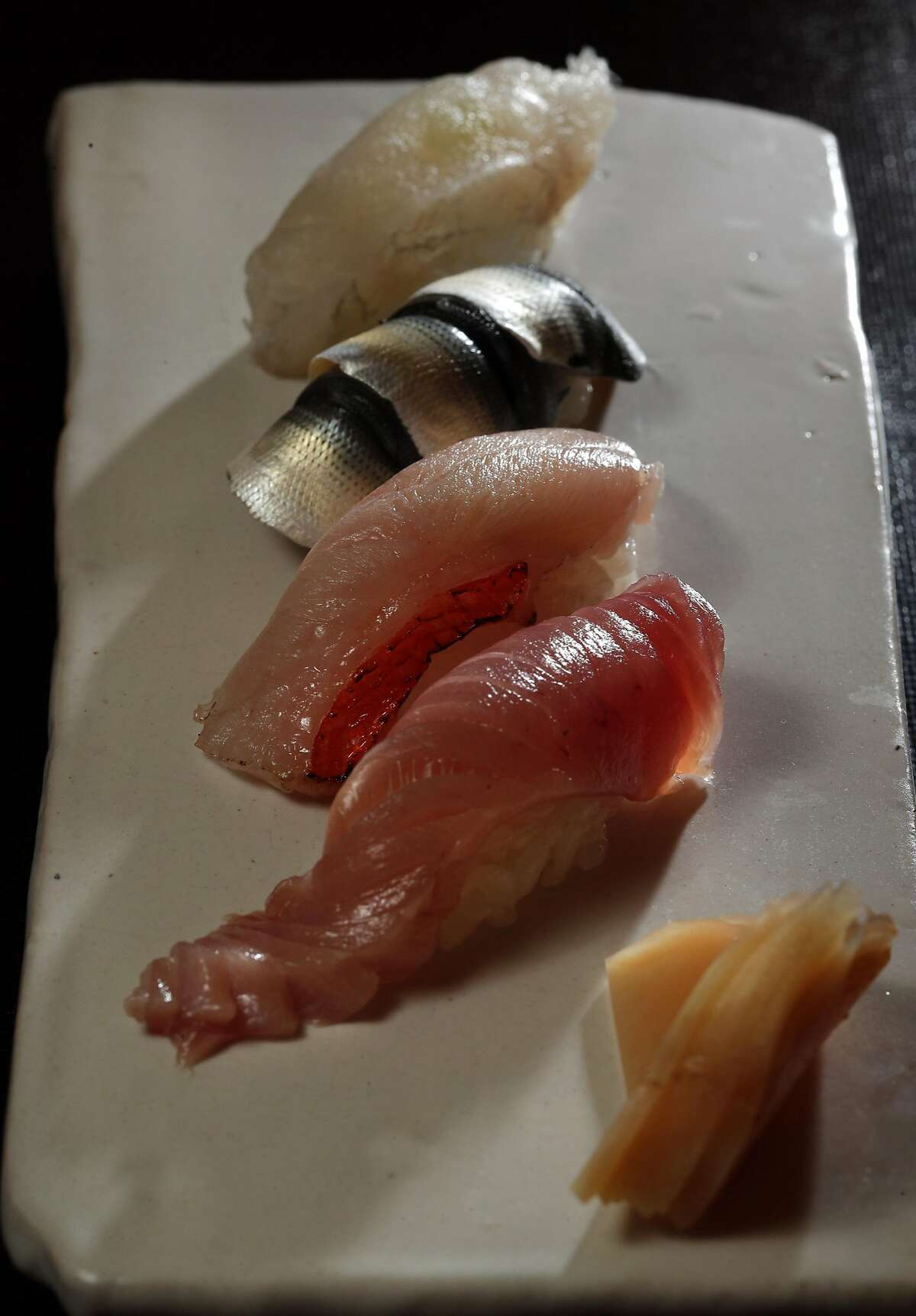 The Chef's Omakase Nigiri Sushi, featuring Kohada, Kochi, Meji Maguro and Kinmedai, served at Hashiri in San Francisco, Calif., on Thursday, August 3, 2017. Hashiri offers an Omasake or chef's choice sushi menu.