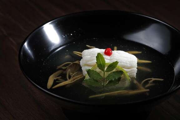 Hamo Suimono (pike eel with plum paste in bonito broth, fukuoka) served at Ijji sushi restaurant in San Francisco, Calif., on Wednesday, July 26, 2017. Ijji features an Omakase, or chef tasting service.