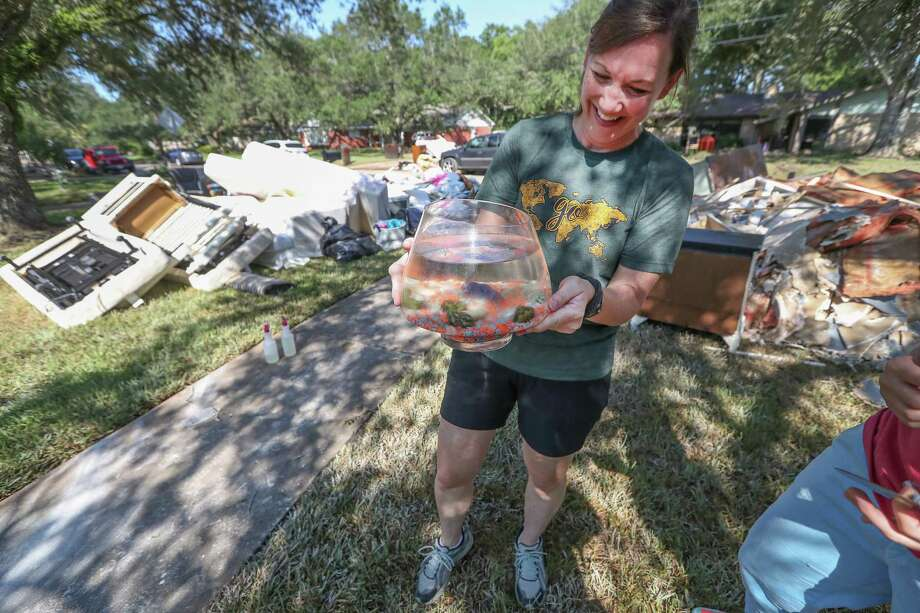 "Friendswood residents such as Jena Roher are looking at the bright side in the face of Harvey's devastation, such as how this fish named ""Romo"" somehow survived the storm's devastation. Photo: Steve Gonzales, Staff / © 2017 Houston Chronicle"