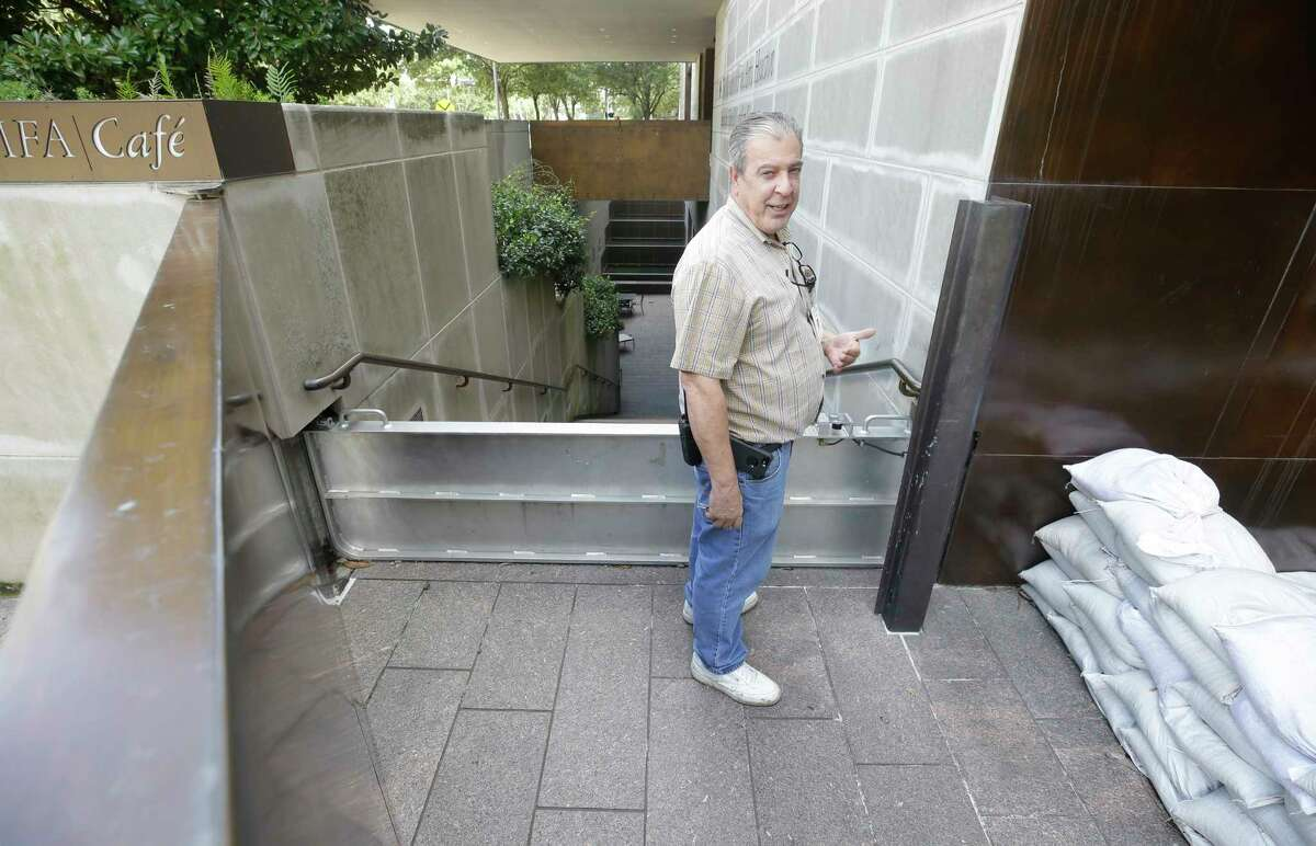 Mike Pierce, chief of building operations, MFAH, 1001 Bissonnet, talks about the flood gates outside the Audrey Jones Beck Building at the MFAH, 1001 Bissonnet, Wednesday, Aug. 30, 2017, in Houston. Personnel have had the epic task of protecting and mitigating damage at the MFAH campus and its two house museums during the Hurricane Harvey. ( Melissa Phillip / Houston Chronicle )