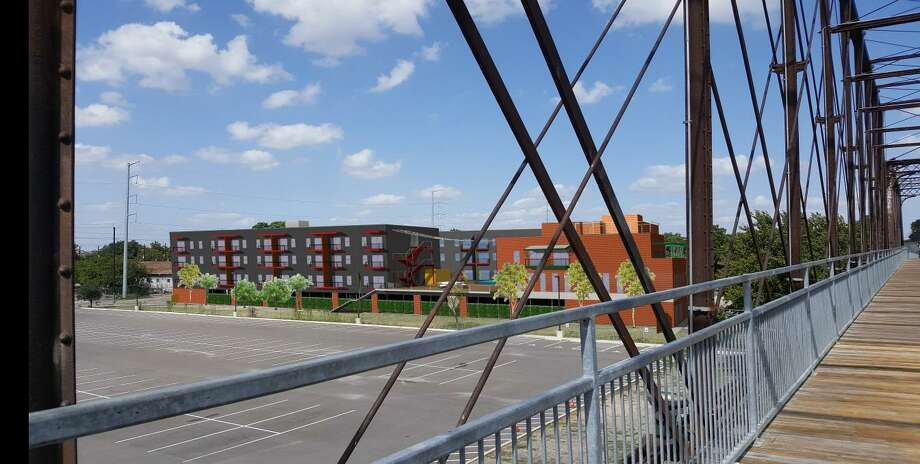 Two local developers have released plans for a four-story, 148-unit apartment complex next to the Hays Street Bridge. Photo: Historic And Design Review Commission /