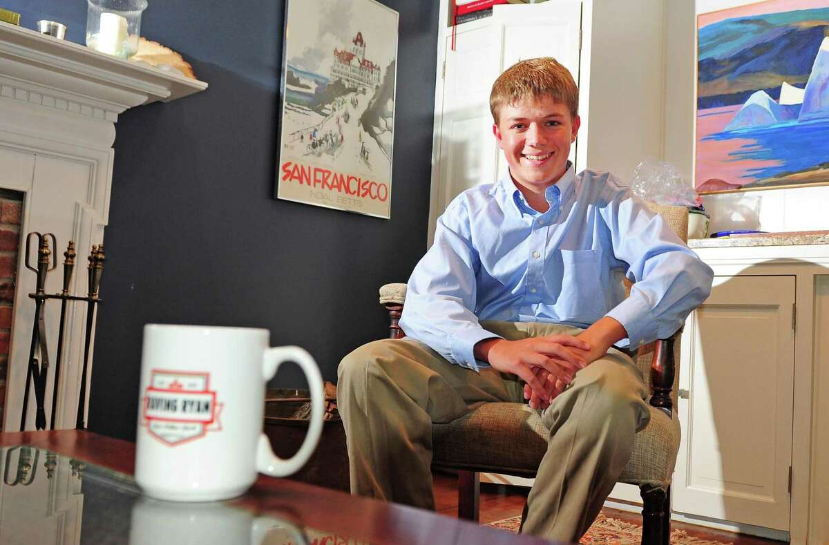 Ryan Anastasio poses at his home in Woodbridge, Conn. on Thursday Aug. 31, 2017. This budding student journalist has interviewed practically every major political figure in the state, from Chris Murphy to Joe Scarborough, for his Raving Ryan website and YouTube channel.