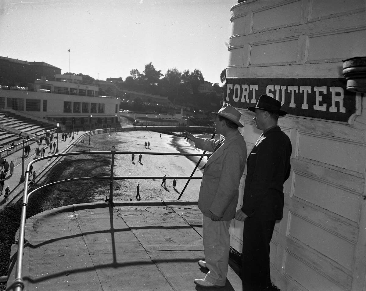 The former riverboat Fort Sutter, owned by Barney Gould arrives at Aquatic Park, February 15, 1953 Gould is accompanied by Tom Anderson