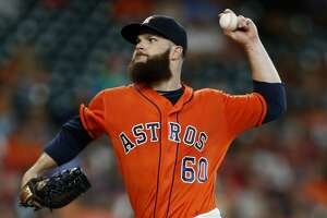 Houston Astros starting pitcher Dallas Keuchel (60) pitches during the first inning of an MLB game at Minute Maid Park, Friday, Aug. 5, 2016, in Houston. ( Karen Warren  / Houston Chronicle )