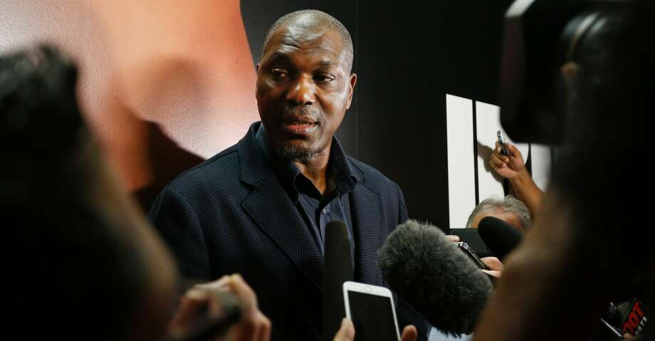 HOUSTON, TX - FEBRUARY 07:  Former Houston Rocket and Hall of Famer Hakeem Olajuwon talks to the media before the Houston Rockets play the Orlando Magic at Toyota Center on February 7, 2017 in Houston, Texas. Olajuwon is being honored as part of the  50th anniversary of the team.NOTE TO USER: User expressly acknowledges and agrees that, by downloading and/or using this photograph, user is consenting to the terms and conditions of the Getty Images License Agreement.  (Photo by Bob Levey/Getty Images) Photo: Bob Levey/Getty Images