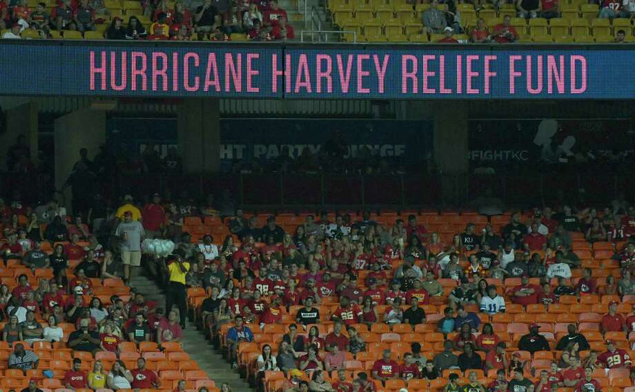 The billboard at Arrowhead Stadium calls for donations to the Hurricane Harvey relief fund during an NFL preseason football game Thursday between the Tennessee Titans and the Kansas City Chiefs in Kansas City, Mo. (AP Photo/Ed Zurga) Photo: Ed Zurga, FRE / FR34145 AP
