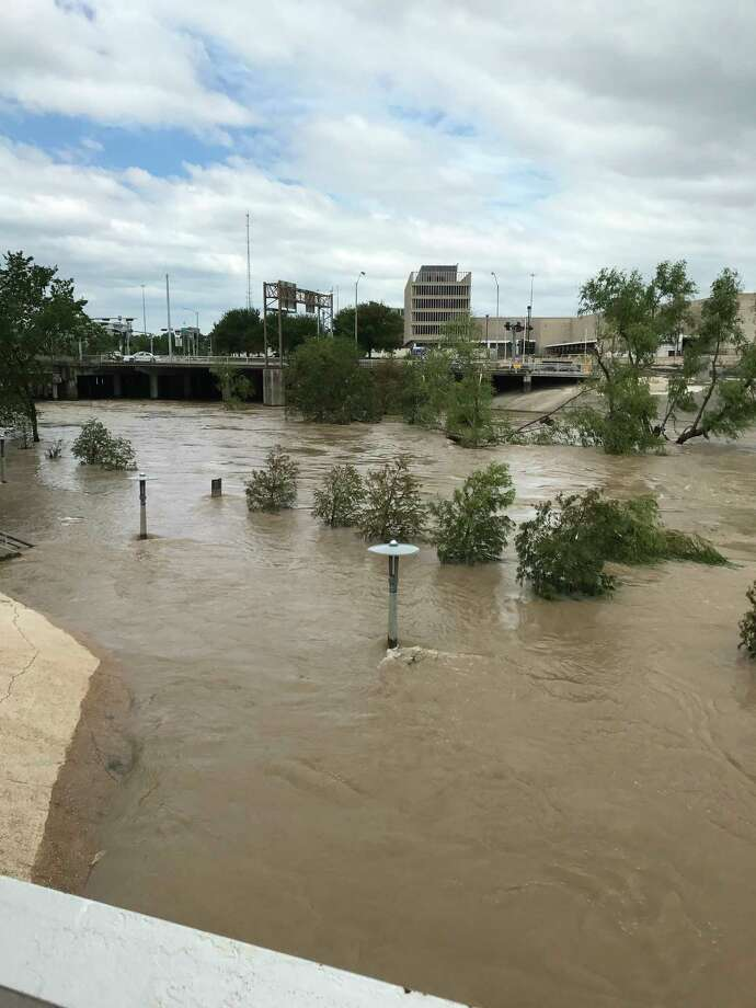 Buffalo Bayou in downtown Houston this week was less than hospitable when the town was new, as well. / Houston Chronicle