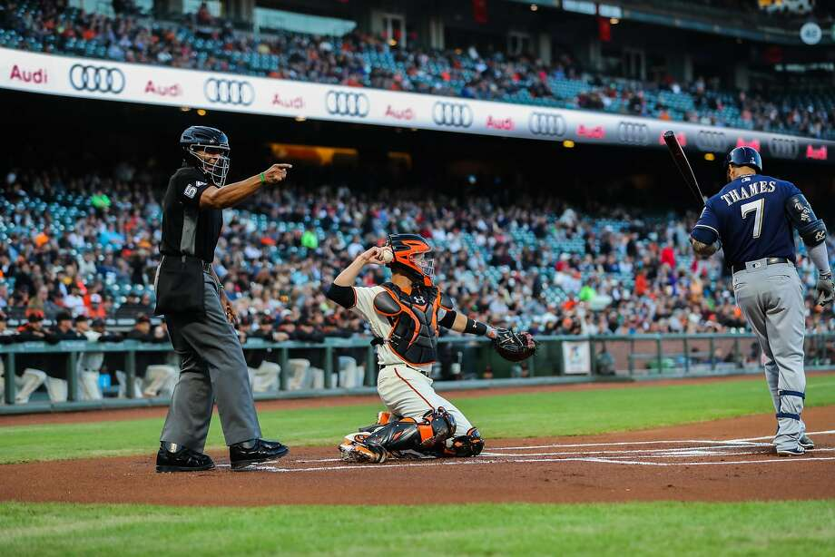 Umpire CB Bucknor calls a strike during a game between the San Francisco Giants and the Milwaukee Brewers at AT&T Park in San Francisco. Photo: Gabrielle Lurie, The Chronicle