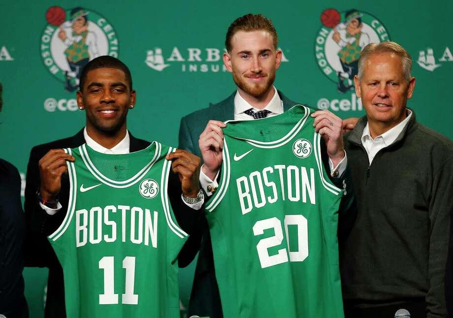 lebron new jersey. boston celtics\u0027 kyrie irving, left, and gordon hayward hold up their new jerseys lebron jersey