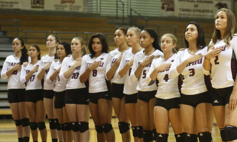 Playing in Austin Saturday, the TAMIU volleyball team lost 3-0 to host St. Edward's before falling in four sets to Henderson State. Photo: Courtesy Of TAMIU Athletics, File