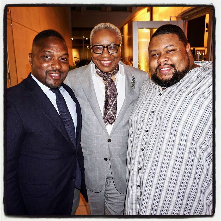Food activist-author Bryant Terry (left), Museum of the African Diaspora Executive Director Linda Harrison and chef-author Michael Twitty at the St. Regis Hotel for the Diaspora Dinner Aug. 29, 2017. Photo: Catherine Bigelow, Special To The Chronicle