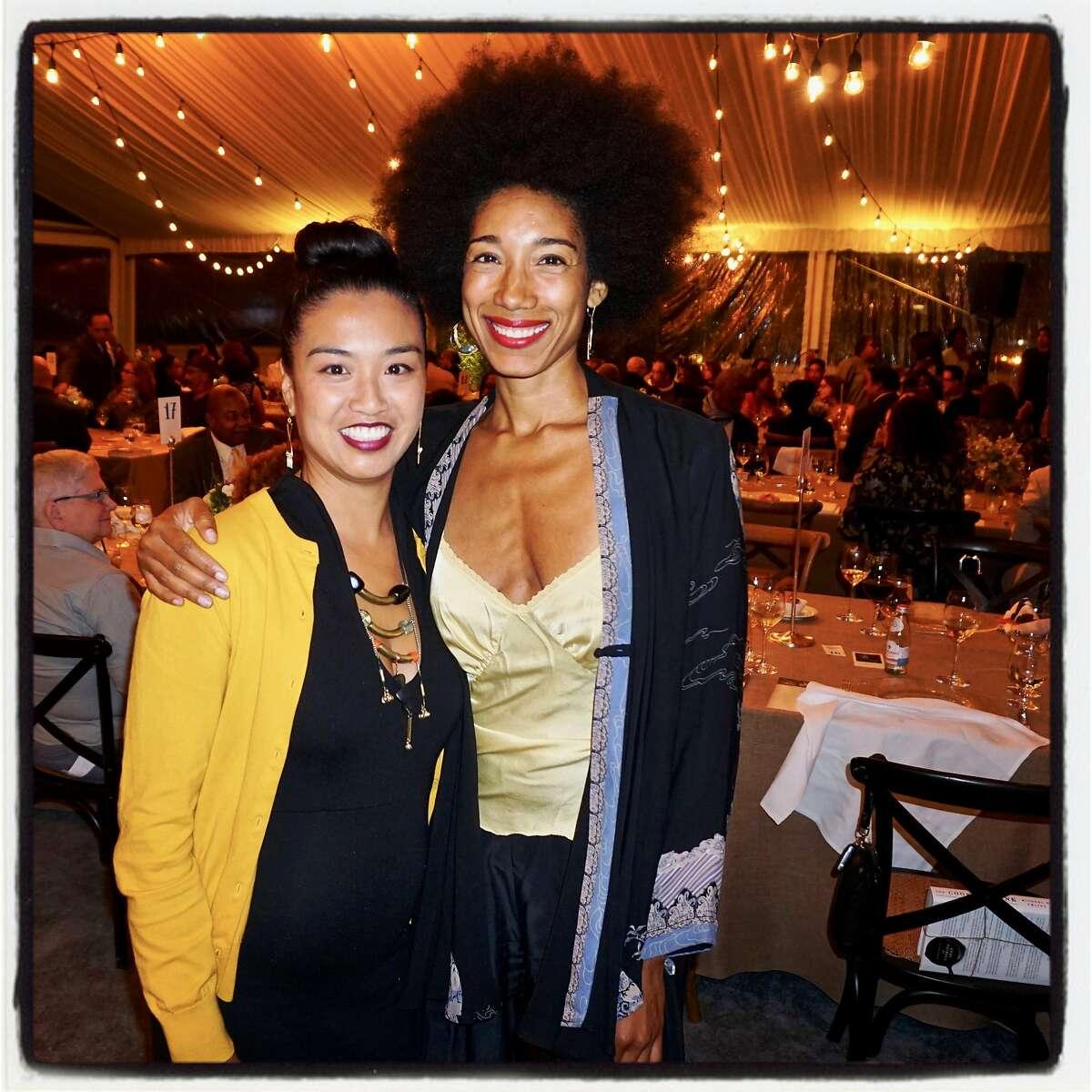Jidan Terry-Koon (left) with actor-director Renee Wilson at the MoAD Diaspora Dinner. Aug. 29, 2017.
