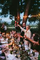 Hannah Elise Collins of Hannah Collins Designs married Benjamin Blake Herod, a founder of Oro En Paz Wines, at a private residence in Healdsburg on June 3, 2017. Her design inspiration was a vintage Italian wedding in the vineyards circa 1970 and her fianc�'s punk rock style.