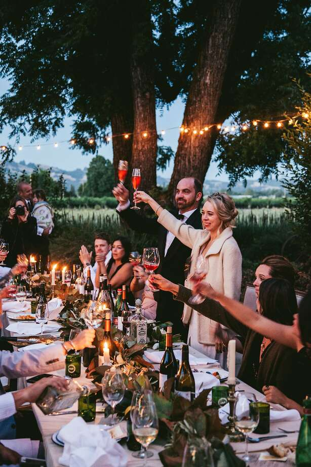 Bride Hannah Collins, of Hannah Collins Designs, and groom Ben Herod, co-founder of Oro en Paz winery, at their June 3 wedding at a private residence in Healdsburg. Photo: Nina Menconi