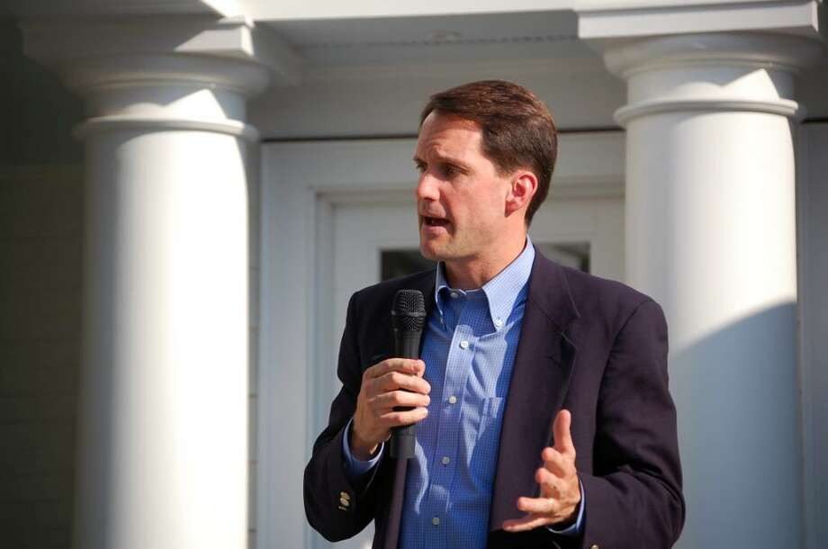 U.S. Rep. Jim Himes, D-4, spoke on the importance of education and what it can do for the economy on Monday June 21 at a home on Clapboard Hill. Photo: Anthony Karge / Westport News