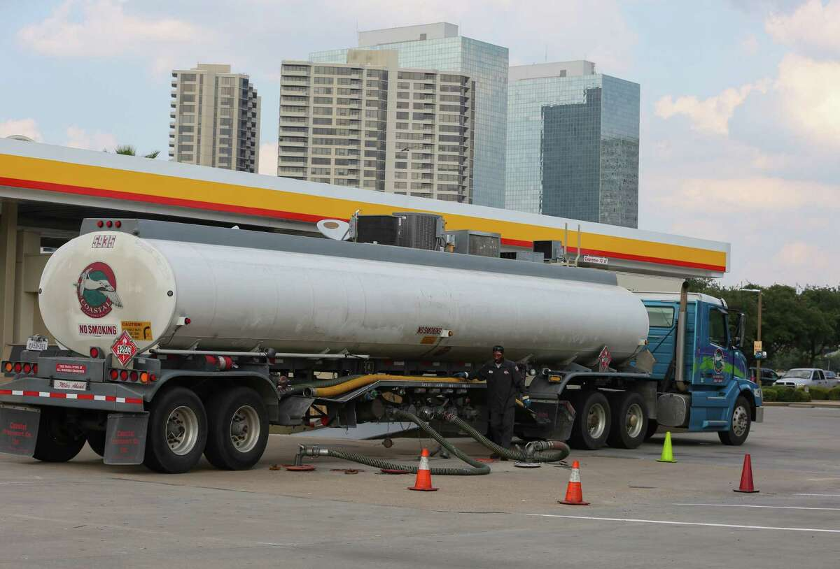 A fuel truck driver resupplies the Shell station at Weslayan and the U.S. 59 frontage road on Friday. With many refineries closed on the Gulf Coast, the fuel supply is being pinched.