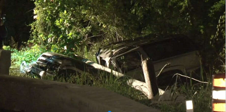 A man driving Friday night on the Highway 290 feeder road lost control of his car and killed himself when he struck a utility pole, according to the Harris County Sheriff's Office.  Photo: Metro Video
