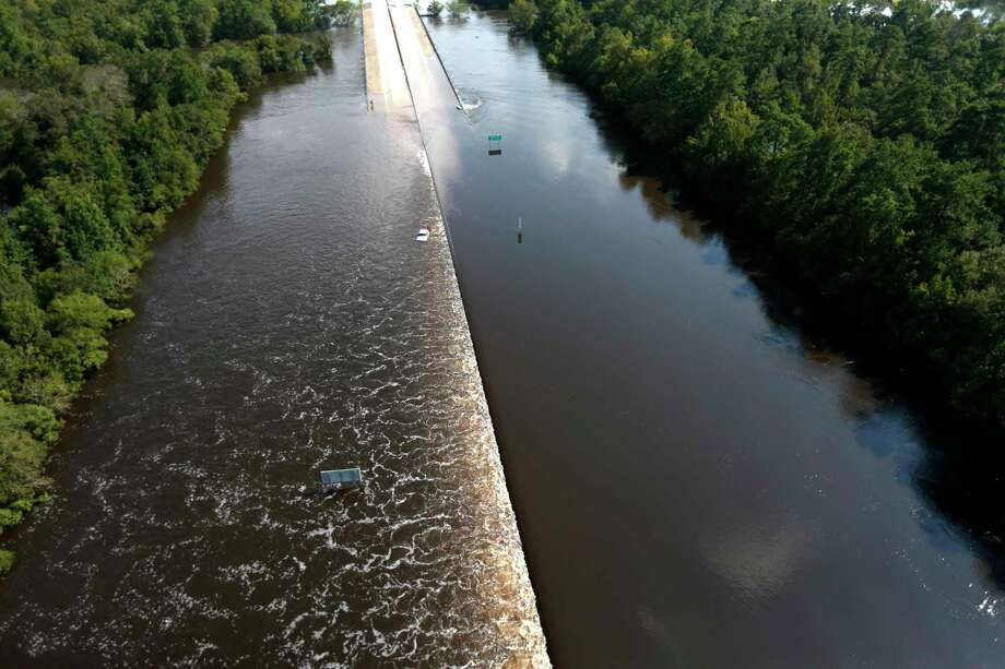 Highway 96 is submerged by floodwaters of Tropical Storm Harvey on Friday, Sept. 1, 2017, in Lumberton. Click through to see more aerial photos of Southeast Texas after Harvey. Photo: Brett Coomer, Staff / © 2017 Houston Chronicle