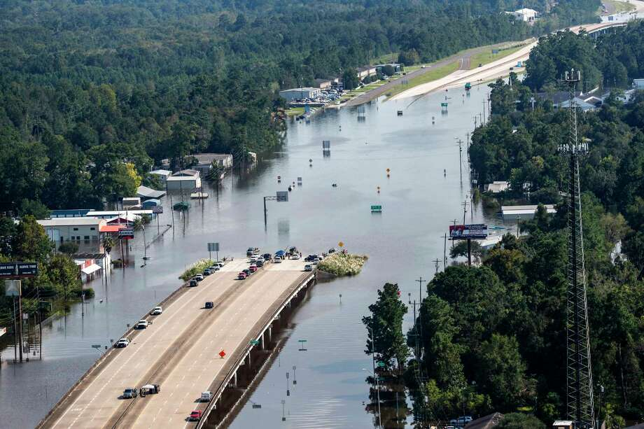 Highway 96 sits submerged by floodwaters from Tropical Storm Harvey on Friday, Sept. 1, 2017, in Lumberton, Texas. ( Brett Coomer / Houston Chronicle ) Photo: Brett Coomer, Staff / © 2017 Houston Chronicle