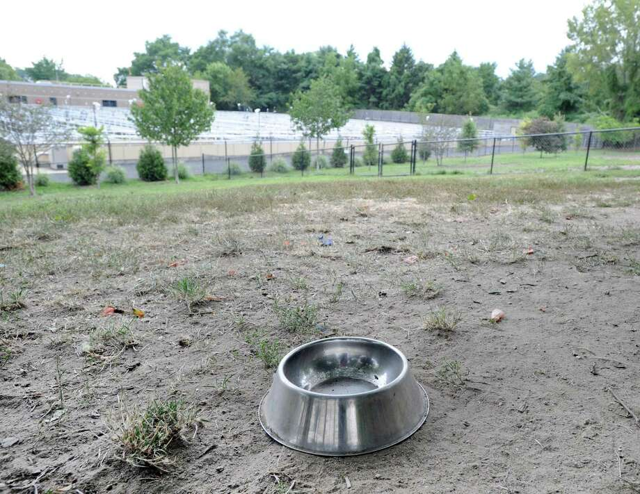 A metallic dog bowl can be seen on dusty bare earth with patches of grass that make up the area dedicated for small dogs to go off-leash at the Town of Greenwich Dog Park located on a slope overlooking the Greenwich Waste Treatment Plant (background), Grass Island in Greenwich, Conn., Thursday, Aug. 31, 2017. Photo: Bob Luckey Jr. / Hearst Connecticut Media / Greenwich Time